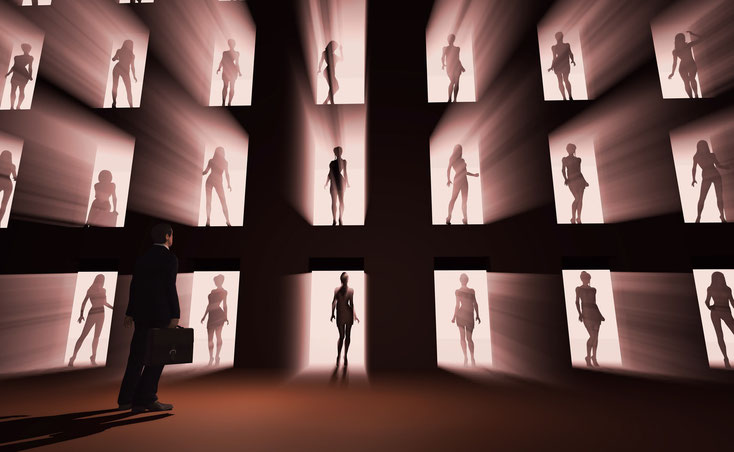 Geschäftsmann steht vor Schaufensterwand mit posierenden Prostituierten; Privatdetektiv Frankfurt