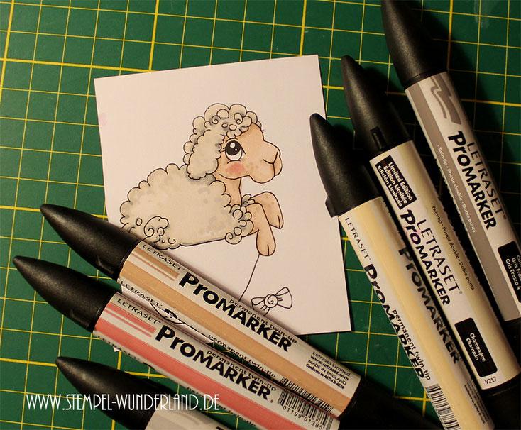 Digi Stamp Digitaler Stempel Schaf Schäfchen koloriert mit Letraset Promarkern Alkoholmarkern scrapbooking Stempel von www.stempel-wunderland.de