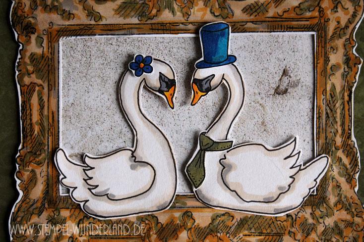 Karte Hochzeit Pärchen Paar Schwan vintage mit Rahmen Digi Stamp digitaler Stempel handgemacht von www.stempel-wunderland.de