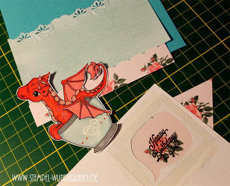 Digi Stamps Drache Digitaler Stempel Dragon scrapbooking Karte handgemacht von www.stempel-wunderland.de