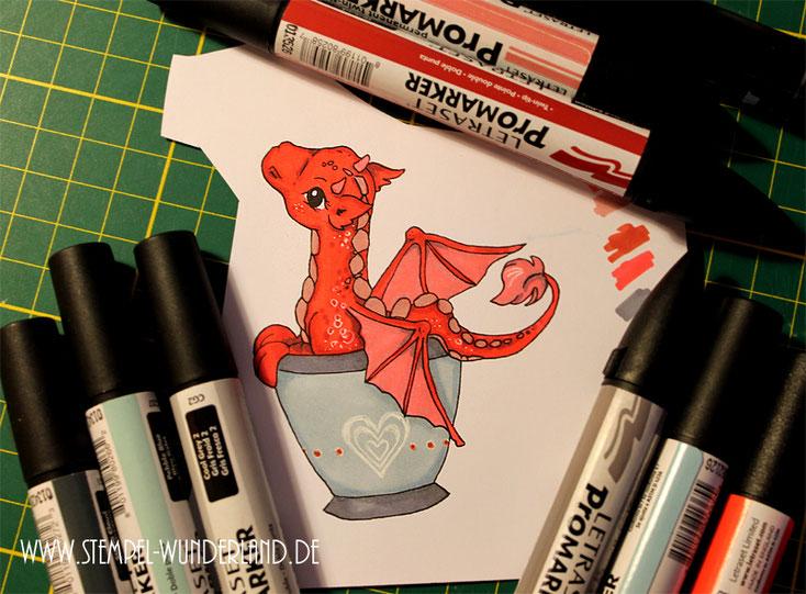 Digi Stamps Drache Digitaler Stempel Dragon scrapbooking Stempel koloriert mit Letraset Promarkern handgemacht von www.stempel-wunderland.de