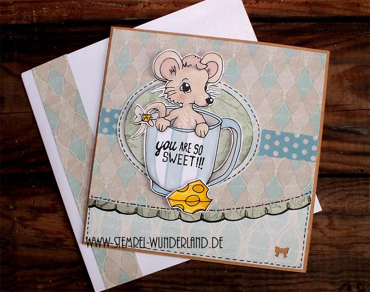 Digi Stamp Digitaler Stempel Scrapbooking Karte Maus mit Käse und Tasse koloriert mit Alkoholmarkern von www.stempel-wunderland.d