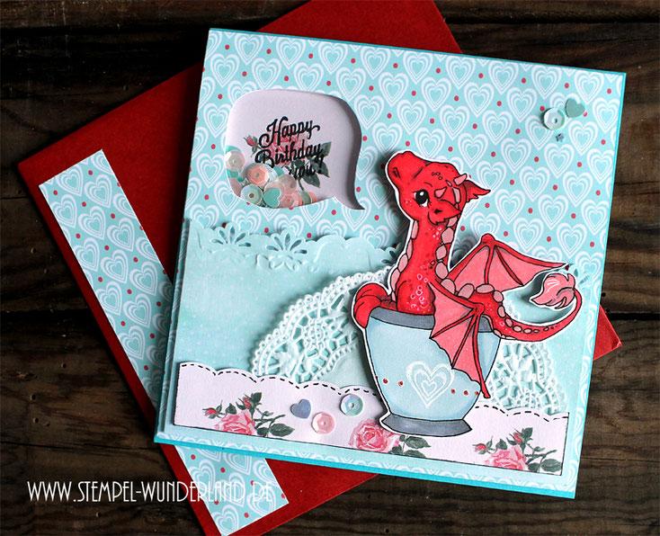 Digi Stamp Digitaler Stempel Scrapbooking Karte Drache in der Tasse koloriert mit Alkoholmarkern von www.stempel-wunderland.d