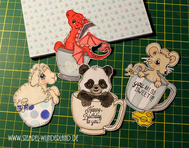 Digi Stamps Drache Maus Pandabär Schaf Schäfchen Dragon Panda Sheep Mouse in a Bottle von www.stempel-wunderland.de