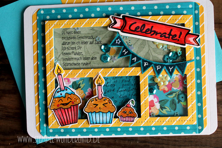 Scrapbook Karte Scrapbooking Muffin Cupcake Stempel mit Kerze und Kirsche Schüttelkarte zum Geburstag Geldgeschenk Idee von www.stempel-wunderland.de