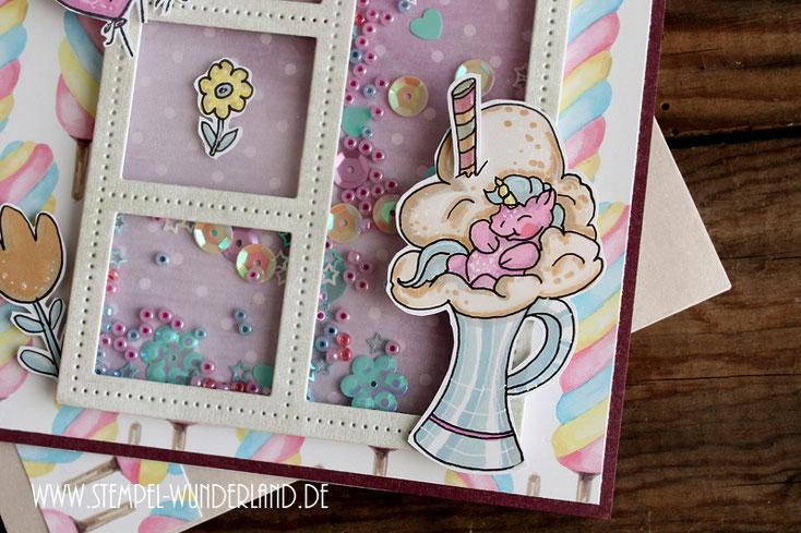 Digi-Stamp Einhorn im Milchshake Digitaler Stempel Pastel auf Geburstagskate handgemacht von www.stempel-wunderland.de