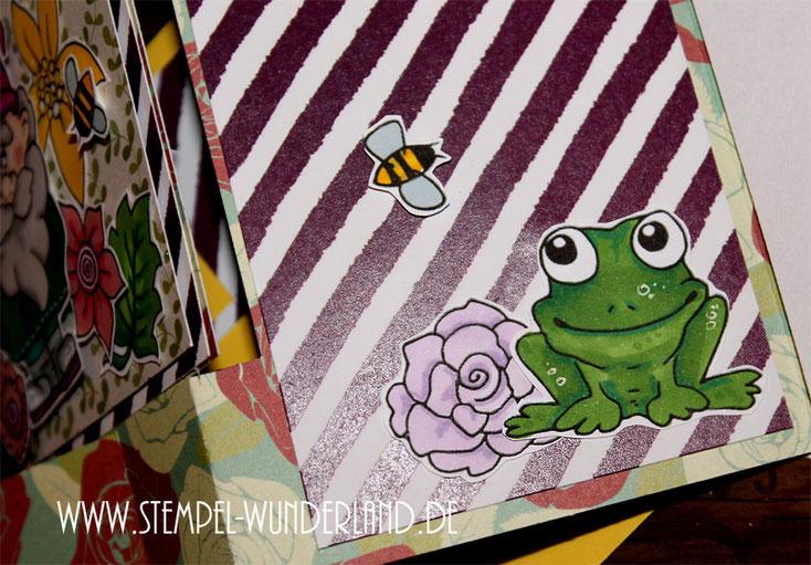 Flip Flap Karte mit Digitalen Stempel Garten Blumen Blüten Gartenzwerg Flamingo Bienen Bienenstock Frosch Rose Stempelset Frühling frisch von www.stempel-wunderland.de