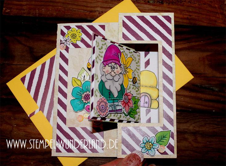 Flip Flap Karte mit Digitalen Stempel Garten Blumen Blüten Gartenzwerg Flamingo Bienen Bienenstock Frühling frisch von www.stempel-wunderland.de