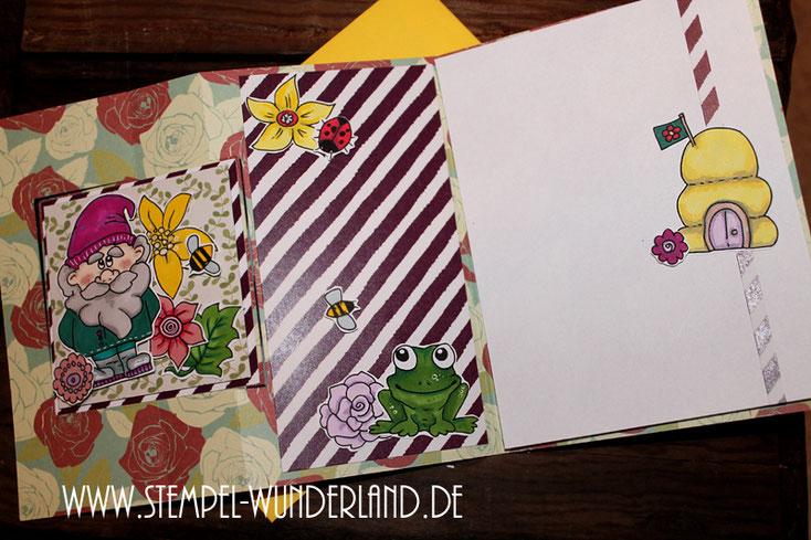 Flip Flap Karte mit Digitalen Stempel Garten Blumen Blüten Gartenzwerg Flamingo Bienen Bienenstock Frosch  Stempelset Frühling frisch von www.stempel-wunderland.de