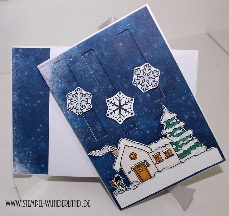 Winter Karte Schnee Winterlandschaft mit Haus Tanne und Schneemann Digi Stamp Digitaler Stempel handgemacht vom Stempel-Wunderland.de