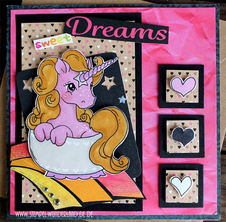 Scrap Roulette Karte Einhorn Geburstag sweet Dreams Einhorn in der Tasse rosa schwarz mit Regenbogen Digi Stamp Stempel handmade by www.stempel-wunderland.de
