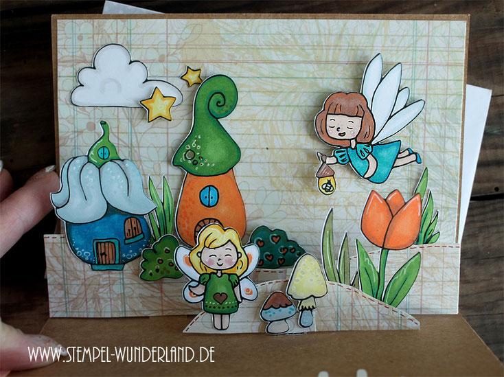 Feen Stempel Digi Stamp Fairyland Fairy Feenland Feenhaus Stern Wolke Pilz Stempel Karte Pop-Up magisch Scrapbooking print and cut handgemacht von www.stempel-wunderland.de