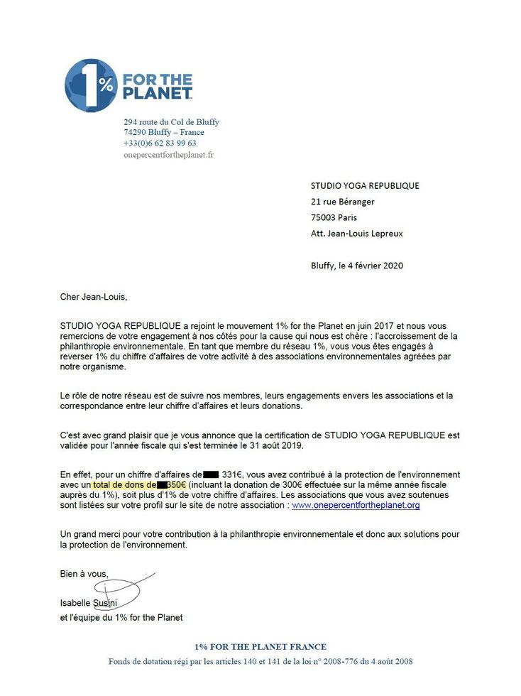 Certificat de donation 1% pour la Planète 2019