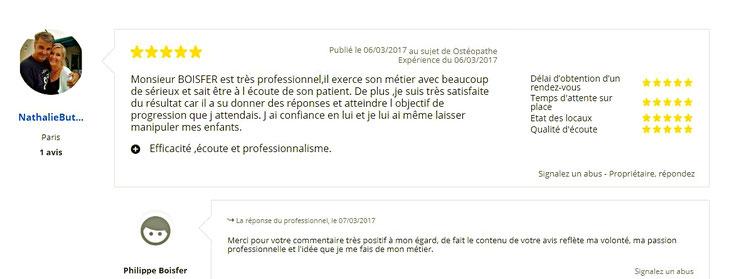 Avis 3 de patient sur Philippe BOISFER Ostéopathe