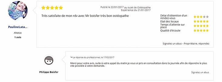 Avis 6 de patient sur Philippe BOISFER Ostéopathe