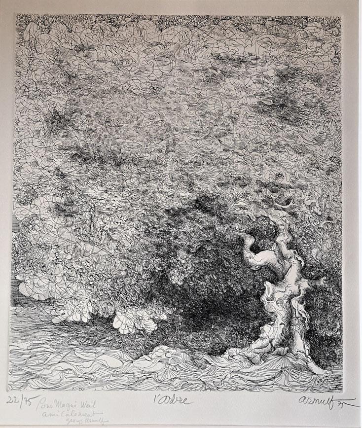 Georges Arnulf, gravure à l'eau forte, l'arbre, achat vente gravure CD Galerie