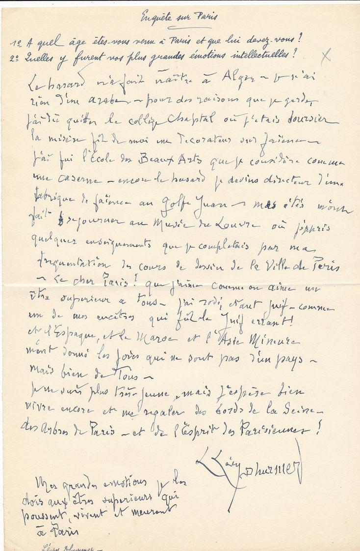 Levy Dhurmer manuscrit autographe signé juif errant Paris