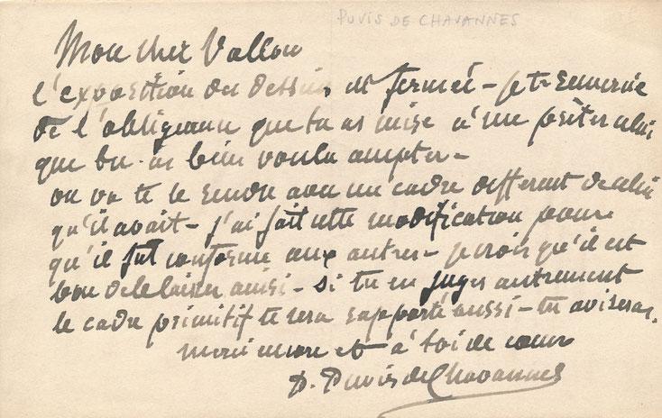 Lettre autographe signée Puvis de Chavanne