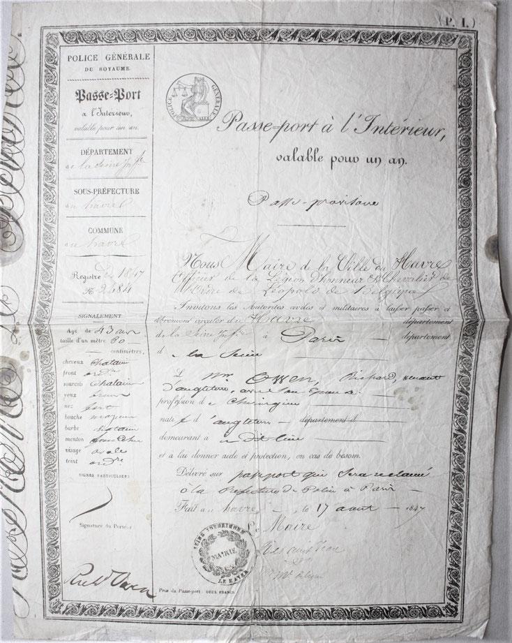 Passeport signé biologiste anatomie comparée paléontologue