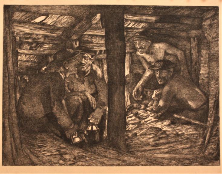 Gustave PIERRE, gravure pour les Charbonnages Hensies Pommeroeul