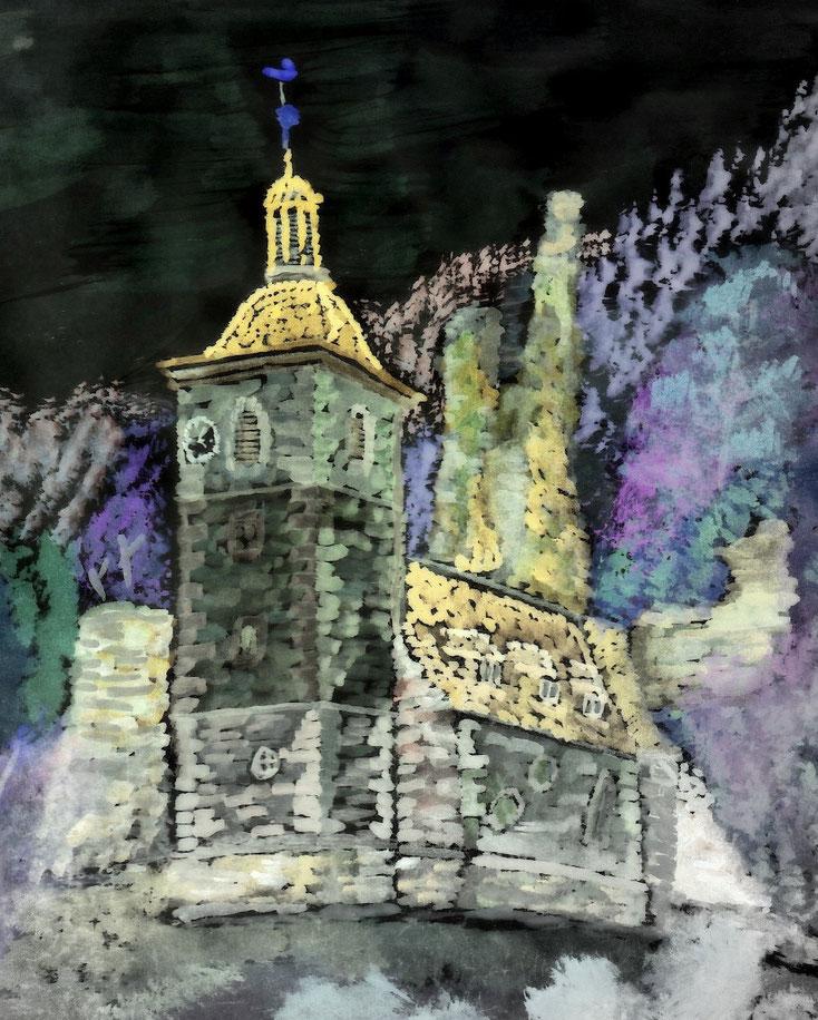 Kirche Rauenstein mit Burgruine in heller Mondnacht
