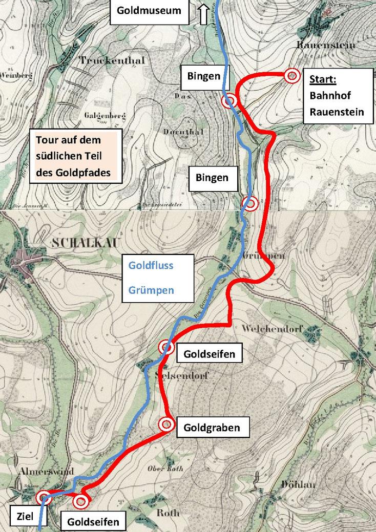 Karte Goldpfadtour (südlicher Teil)