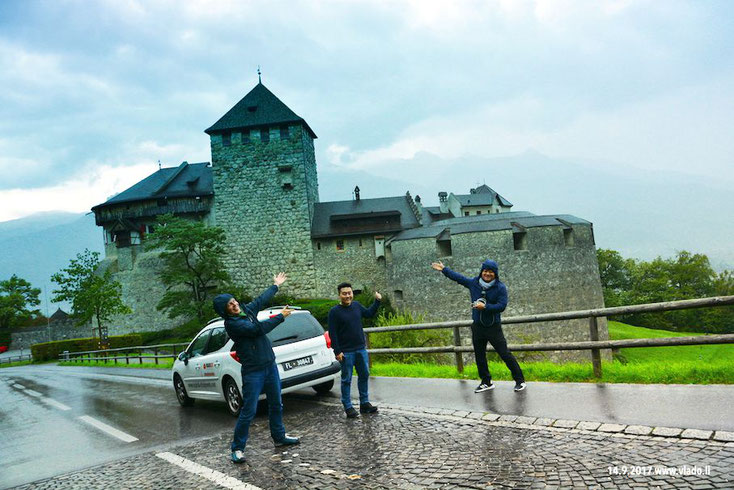 Jürgen Hefele, Roy Kim and Albert Inyoung Choi in front of castle of Royal family LIECHTENSTEIN in Vaduz, 14.9.2017