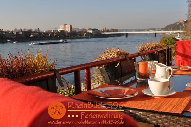 Image: balcony, river Rhein, palace of Koblenz, bridge of Pfaffendorf, fortress Ehrenbreitstein
