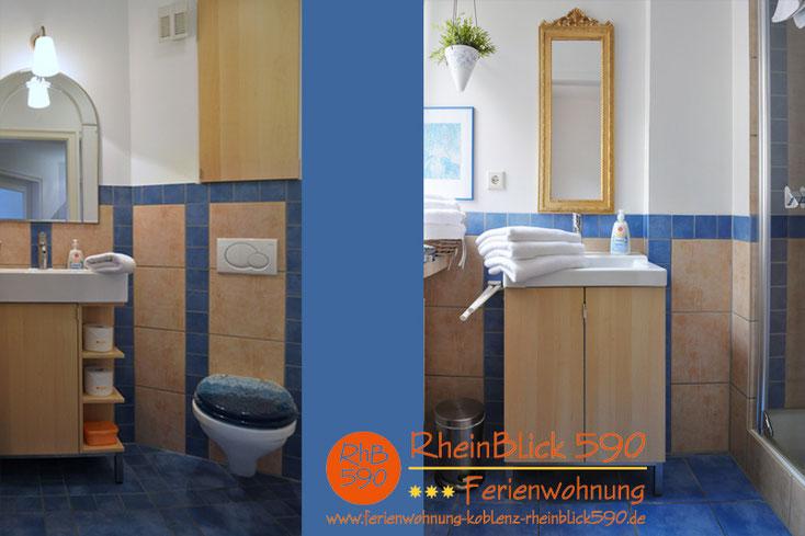 Image: À gauche les toilettes, à droîte la douche