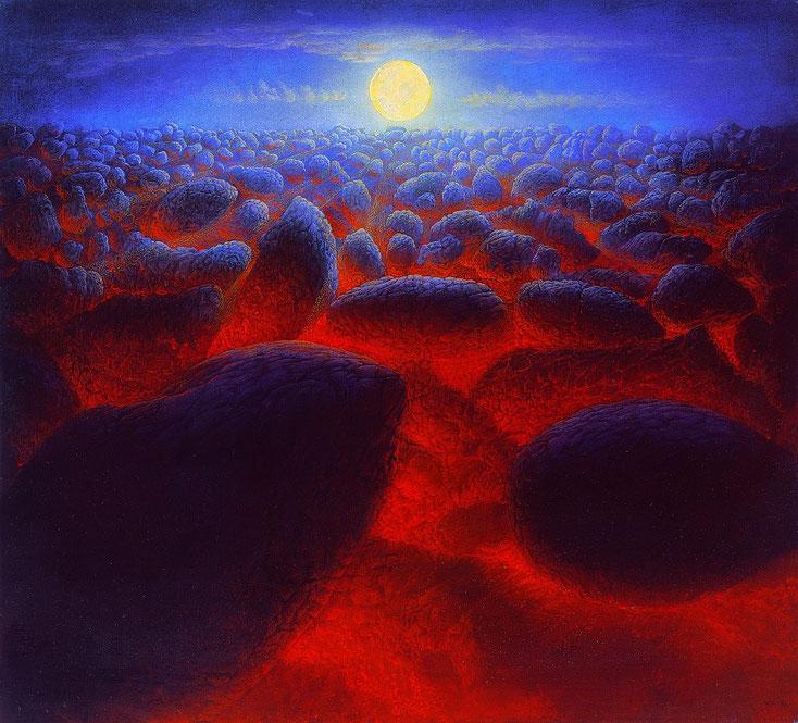Hanno Karlhuber - Im Rot der Nacht, Öl Tempera auf Holz, 50 x 55 cm, 1985