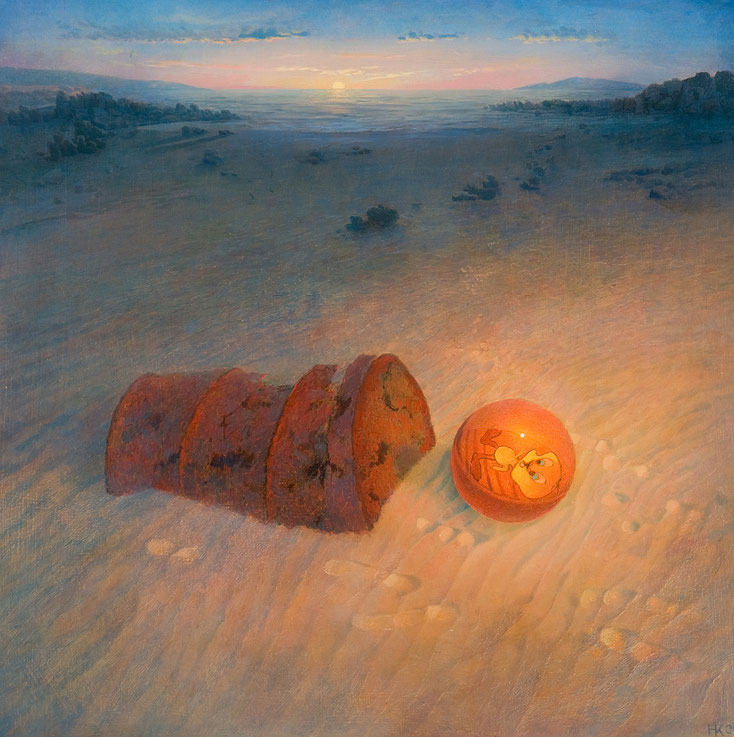 Hanno Karlhuber - Der Ball am Meer, Öl /Tempera auf Holz, 70 x 70cm, 1999