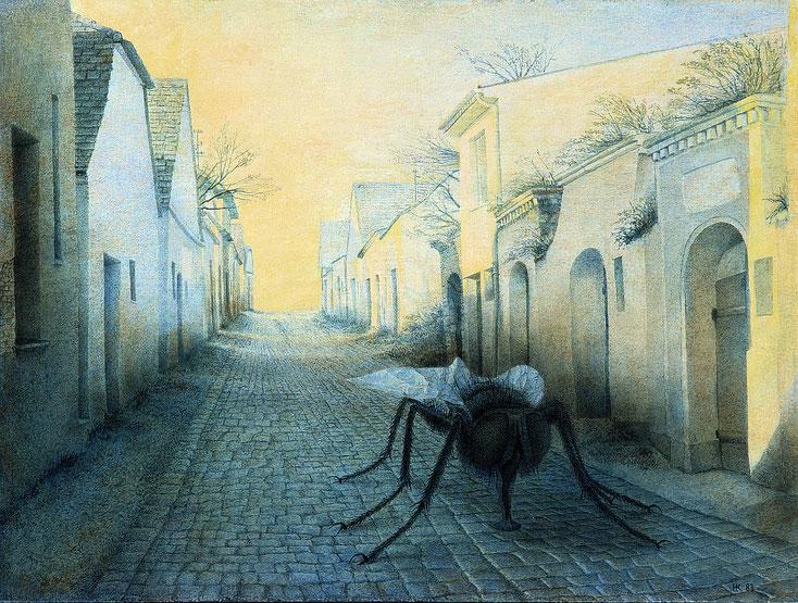 Hanno Karlhuber - Die Fliege - Öl/Tempera auf Hartfaser, 70 x 100 cm, 1984