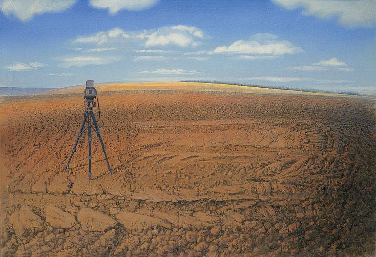Hanno Karlhuber - Der Acker, Öl /Tempera auf Holz, 70 x 100cm, 1994