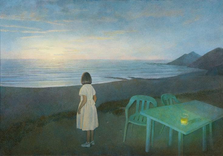 Hanno Karlhuber - Das Mädchen am Meer, Acryl/Öl auf Holz, 70 x 100cm, 2008