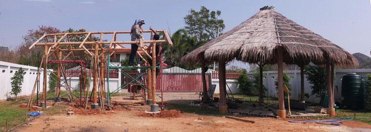 Die Konstruktion der Werkstatt  (2021) erfolgte mit den selben Materialien die bei der Kuppel verwendet wurden(2020)