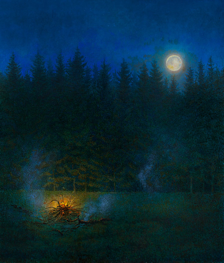 Hanno Karlhuber - Das Feuer, Acryl/Öl auf Hartfaser, 70 x 80 cm, 2015