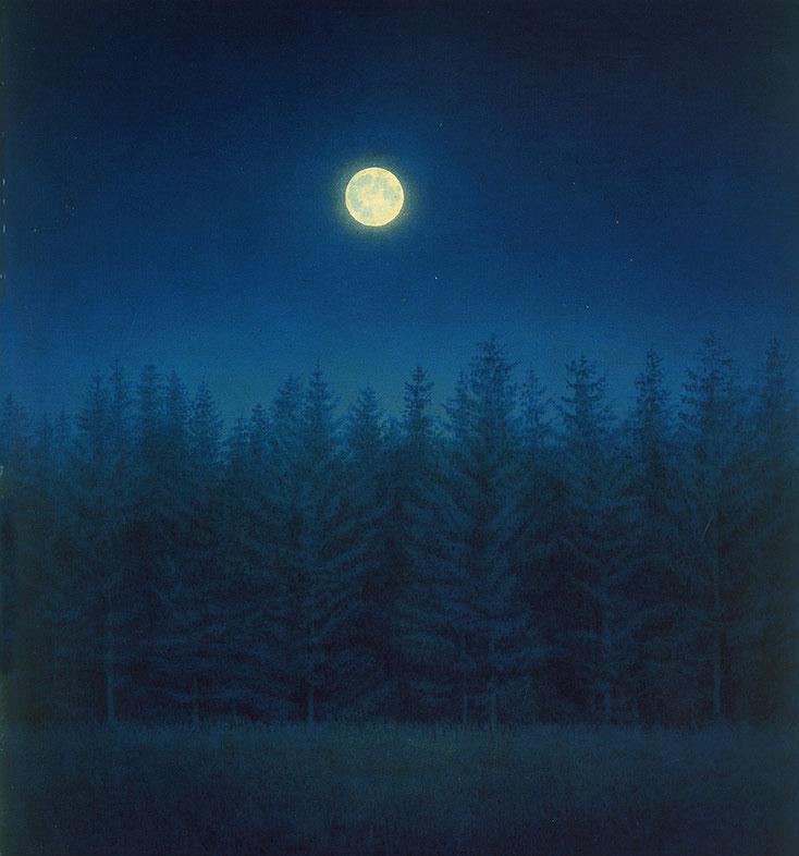 Hanno Karlhuber - Im Zeichen des Mondes, Öl/Tempera auf Hartfaser, 110 x 100 cm, 1985