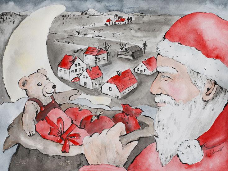 """Adventskalender/Weihnachtskarte, Motiv: """"Weihnachtsmann"""", 2018"""