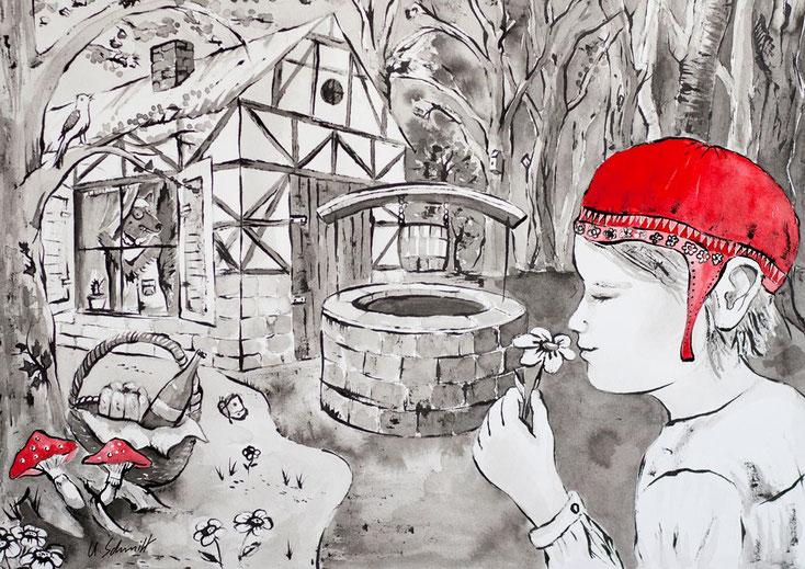 """Postkarte, Motiv: """"Rotkäppchen"""""""