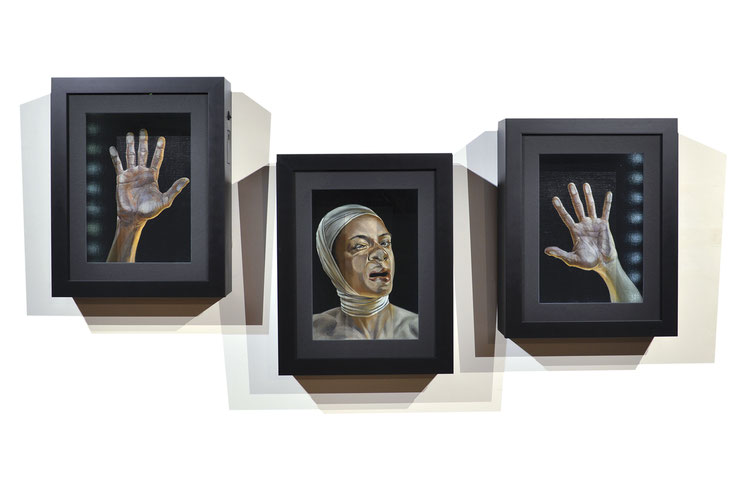 enfermement, cases, peinture, led box, art, triptyque, contemporain, painting, contemporary, artist,