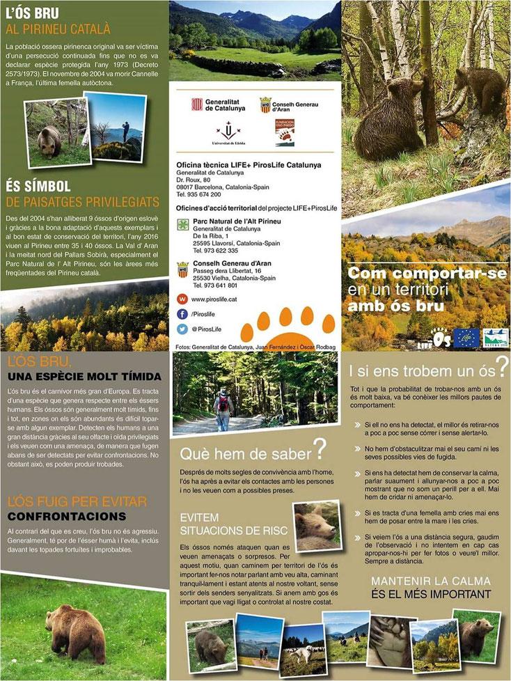 Com comportar-se en un territori amb ós bru ... 🐻🐻🐻. Aquesta informació hauria d'estar sempre a mà en tots els establiments turístics, hotels, càmpings, albergs, cases rurals, apartaments, etc ... del Pirineu i els punts d'informació