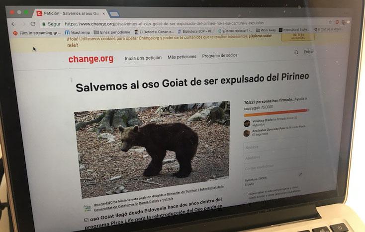 La campanya a Change.org ja ha recollit més de 70.000 firmes