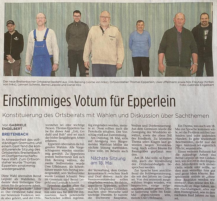 konstituierende Sitzung Ortsbeirat Breitenbach