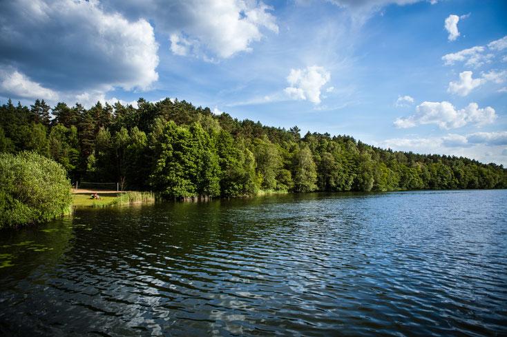 Der Große Zermittensee ist ein wunderschöner Badesee ganz in der Nähe des Schwalbenhofes Kagar