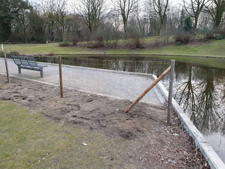 Der Zaun wird noch mit einer Hecke ergänzt  - Foto: Dieter Kunkel