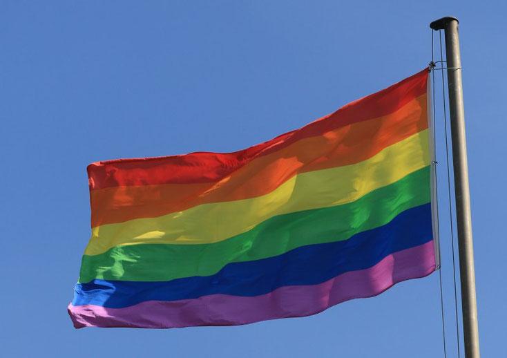 Die Regenbogenfahne weht nun am City-See.