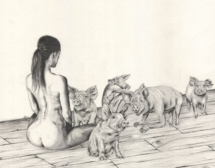 Circé, crayons graphites, 40 x 50 cm , 2016