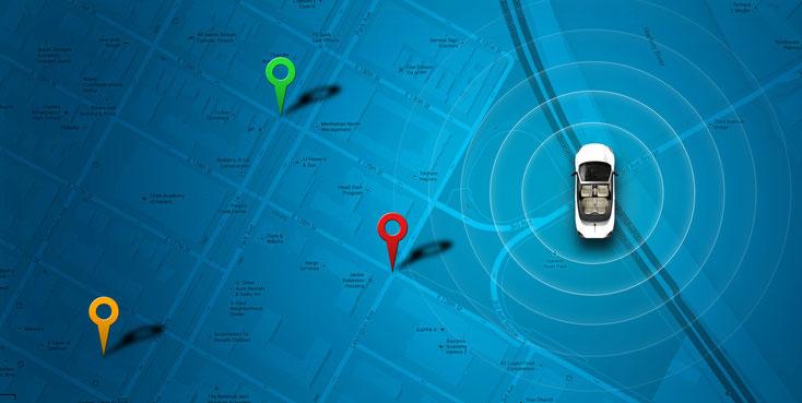GPS-Markierungspunkte auf einer virtuellen Karte; Kurtz Detektei Stuttgart