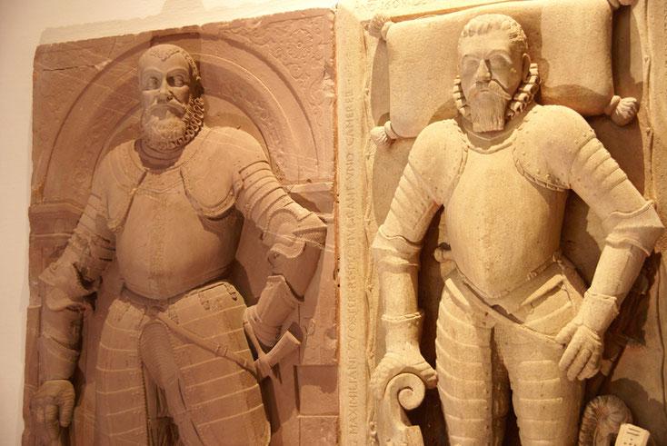 Dalles funéraires de Lazare de Schwendi (à droite) et de son fils - Eglise de Kientzheim (Haut-Rhin)