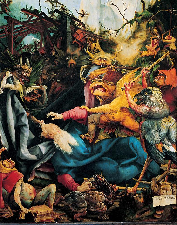 L'agression de Saint-Antoine, Panneau en bois de tilleul peint du Retable d'Issenheim